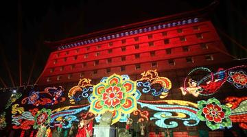 西安城墙新春灯会亮灯