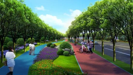 灞河西路道路绿化景观工程效果图