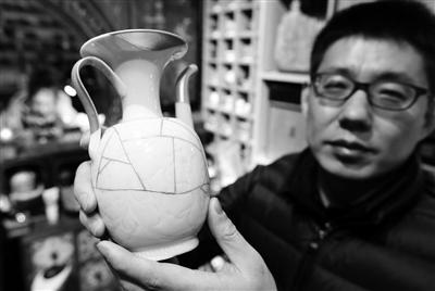 韦原原修复的瓷器 本报记者 党运 实习生 马超 摄