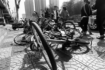 倒地单车 本报记者 代泽均 摄