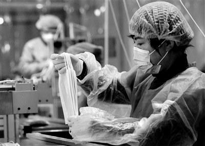 西安沣京工业园口罩和消毒液企业生产线