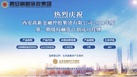西安高新金控集团2021年度两期债权融资计划成功挂牌发行