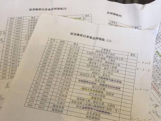 俞解民制作的《大戚重走国境线》行程表