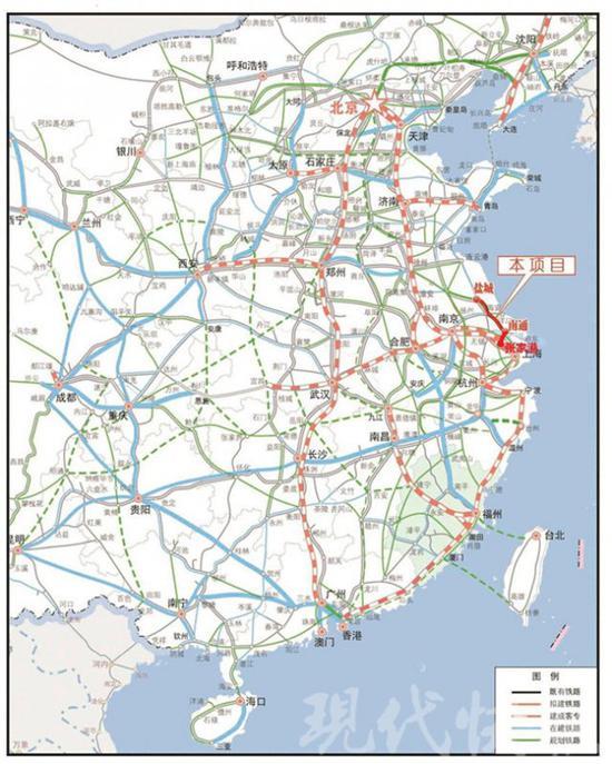 新建盐城至南京铁路地理位置示意图