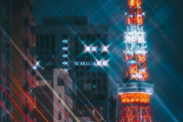 灯火璀璨的东京街头 梦幻都市的夜晚色彩