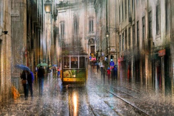 雨中的都市情调 朦胧动感的跳跃色彩