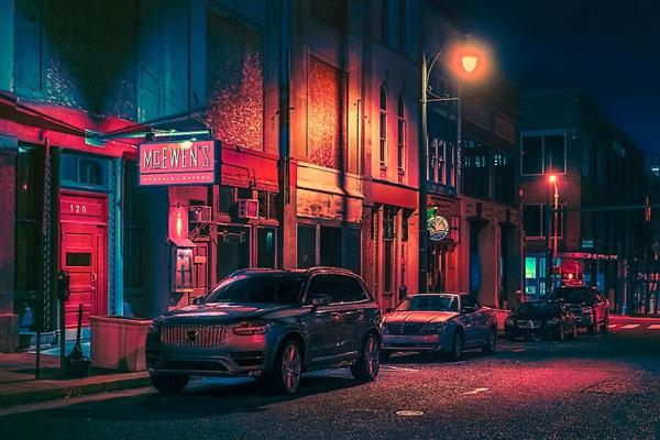 霓虹点缀的美国街头 怀旧豪放的美式风情