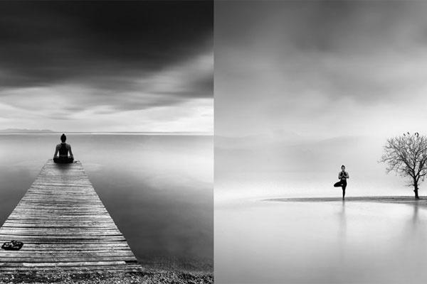 冥想禅思空间 宁静致远的黑白极简风景