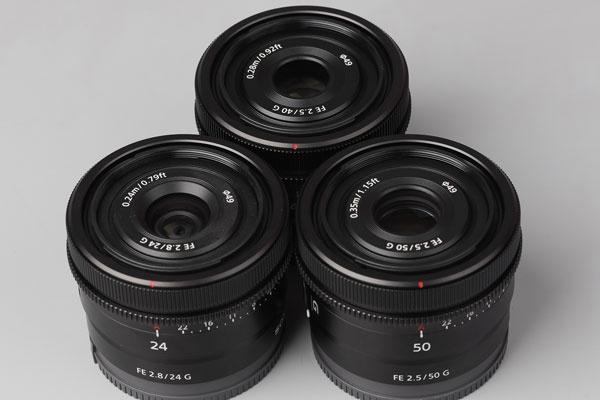 小巧轻量化 索尼50mm、40mm和24mm三支全画幅G镜头外观图赏