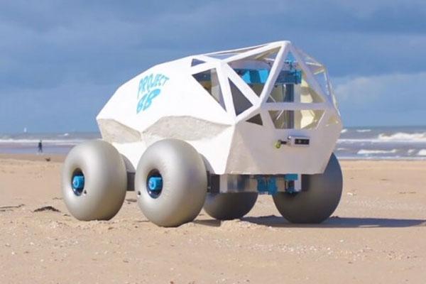 沙滩机器人BeachBot利用人工智能清除海滩上的烟头