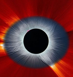 合成照片显示日食:如同恶魔之眼