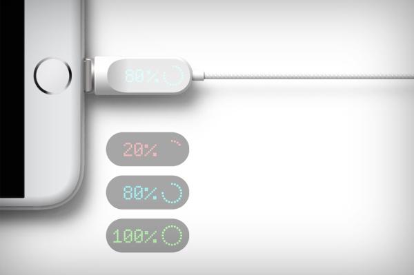 能显示充电进度的数据线 无需按Home键查看了
