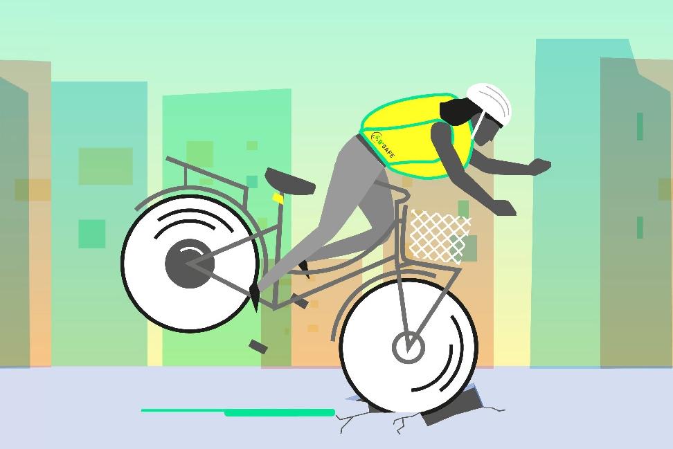 带安全气囊的骑行背心 摔倒时能立即膨胀
