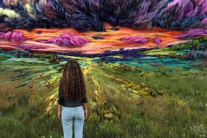"""艺术家用针线""""画出""""美丽的自然景观"""