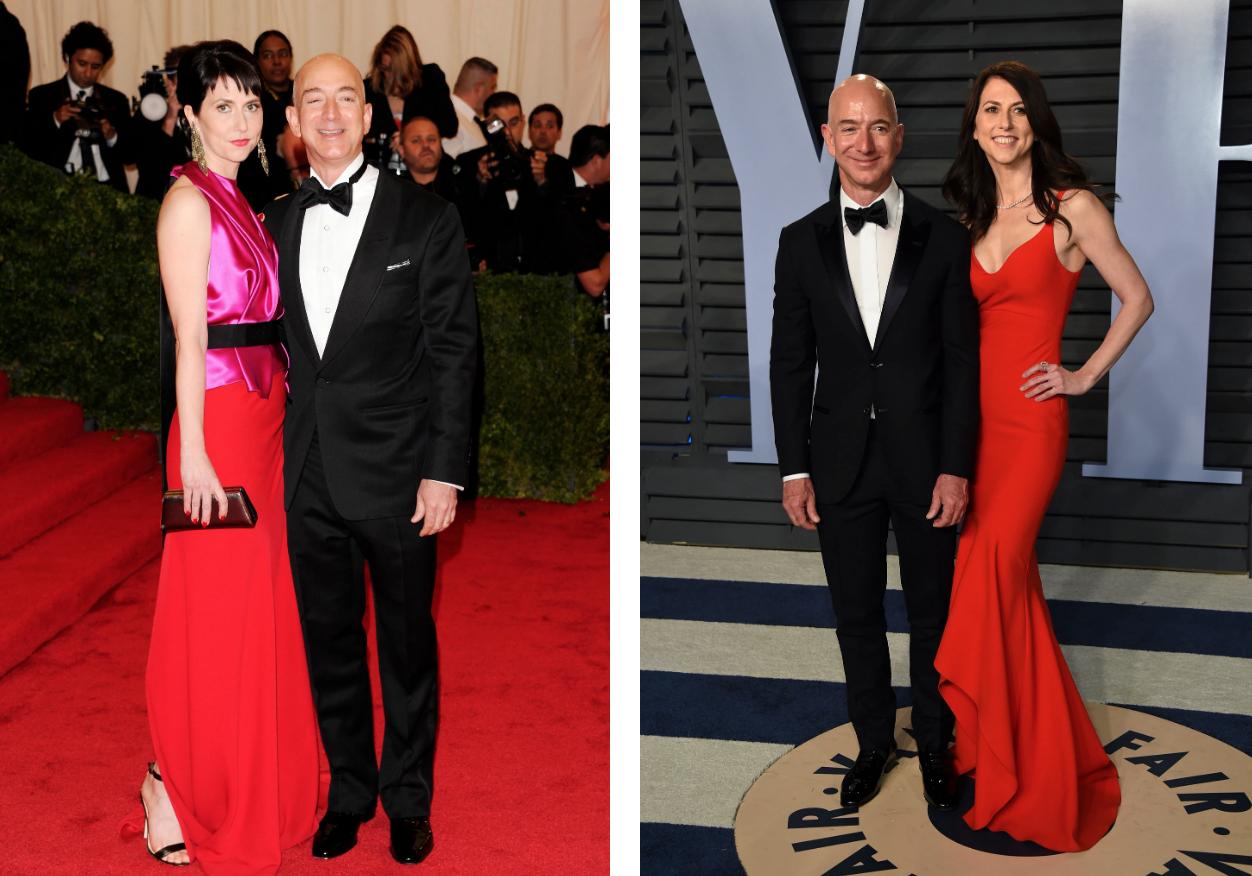 贝索斯夫妇参加2012年的Met Gala,图左;贝索斯夫妇在2018年举办的《名利场》奥斯卡宴会上,图右。