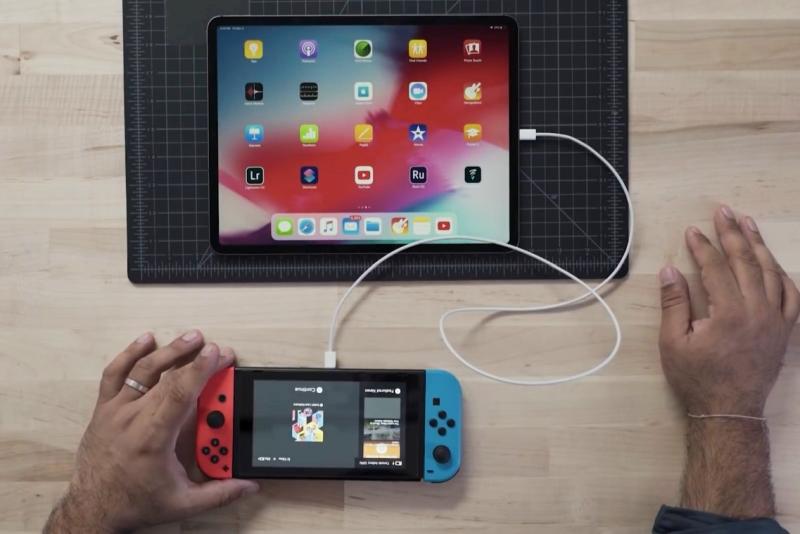 Switch底座隐藏功能 变身iPad Pro充电器