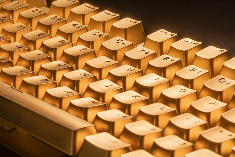 """""""真黄金""""机械键盘 24K镀金键帽"""