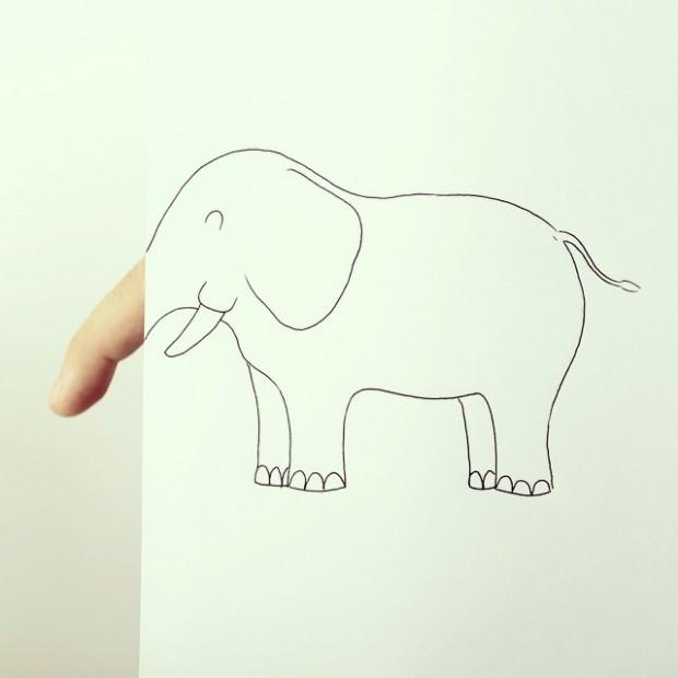 简笔画跟手指的结合 惟妙惟肖的手指动物