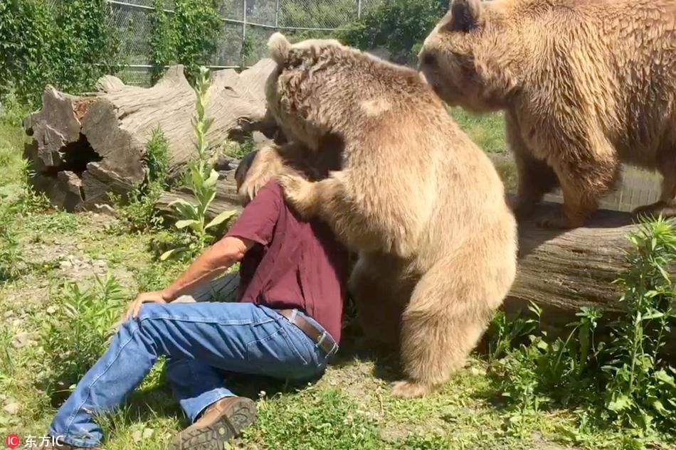 美国饲养员背起360斤顽皮熊 大玩平