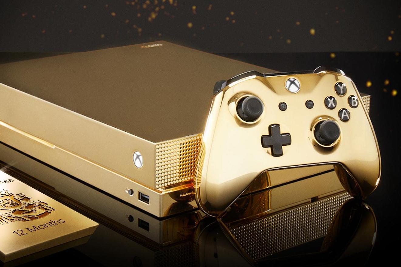24K黄金Xbox One X限定主机 金光闪闪亮瞎眼