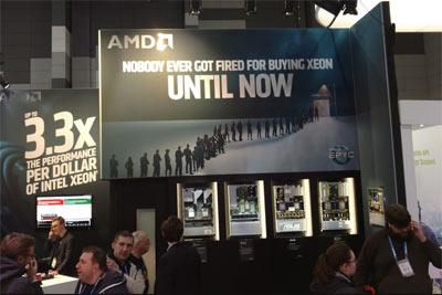 AMD展会广告牌嘲笑英特尔Xeon:再买你会被炒鱿鱼的
