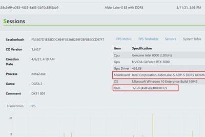 数据库出现12代酷睿测试信息 内存搭配DDR5