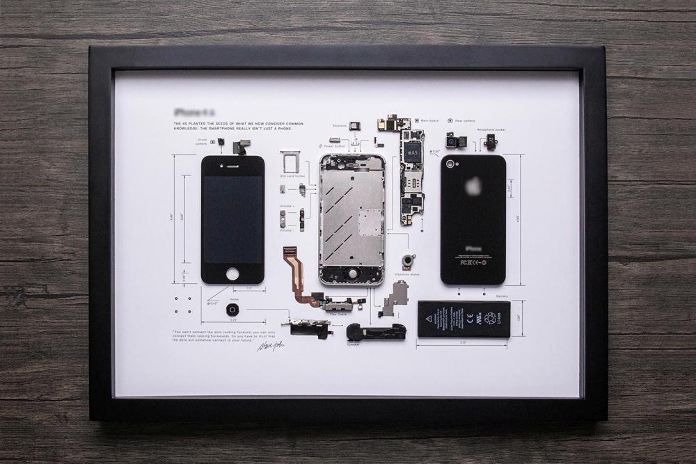 装裱悬挂:Grid Studio推出iPhone 4S艺术拆解收藏品