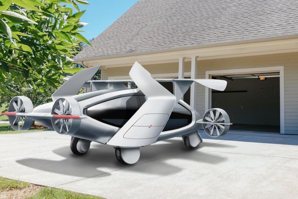 能垂直起降的飞行汽车 可乘坐五人