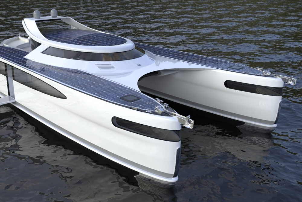 游艇设计公司推出太阳能两栖双体船