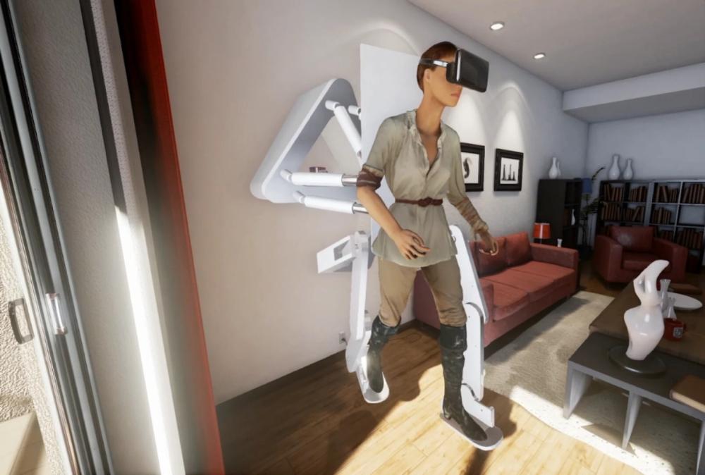 一套能讓下半身獲得全力反饋的VR外骨骼