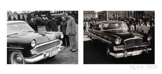 图一,东风金龙汽车(左)、红旗汽车(右)