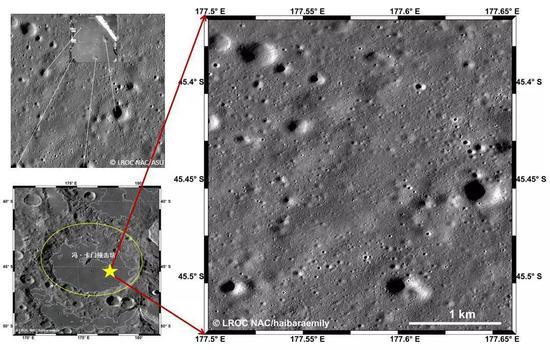 不(左上)嫦娥四号降落相机的照片和LROC NAC影像的匹配,来源:LROC/ASU[1](左下)冯·卡门撞击坑位置(右)嫦娥四号着陆区。来源:LROC WAC/NAC/haibaraemily 上图右边这个大约3×5公里的区域,就是小兔子着陆后,在月背的主要活动范围。