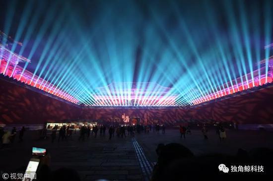 故宫元宵节灯光秀现场 图/视觉中国