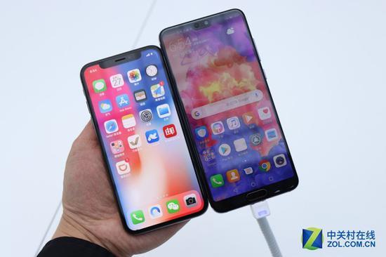 左为iPhoneX右为华为P20Pro
