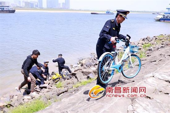 东湖区城管执法局联手多家部门打捞水下单车
