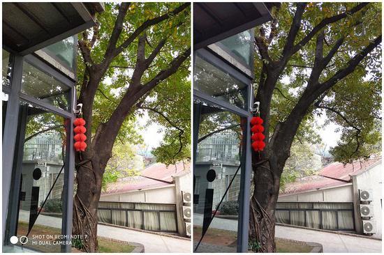 ▲紅米 Note 7(左)/ 榮耀 V20(右)樣張