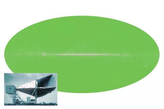 """如果微波可视,夜空看起来会像代表2.7 K的绿色椭圆形,中心的""""噪音""""是由我们较热的星系平面造成的。这种带有黑体光谱的均匀辐射就是宇宙微波背景辐射,是宇宙大爆炸余辉的证据。"""