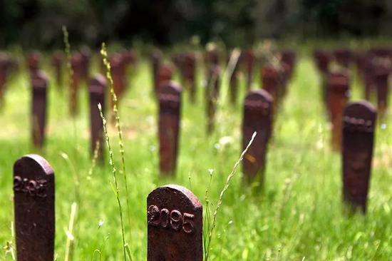 从米利奇维尔医院坟墓中转移而来的铁制标记。来源:Jaime Henry-White / AP / Shutterstock。