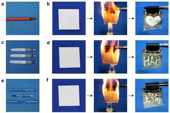 圖3。 可以使用裝有白醋的各種筆作爲書寫工具、用白醋作爲安全墨水在新型密寫紙上書寫祕密信息(加密過程); 解密過程採用火燒幾秒鐘後,就可以清晰地看見新型密寫紙上的祕密信息了