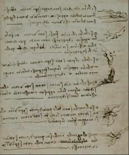 達芬奇的鳥類飛行手稿 (圖片來源: kknews.cc)