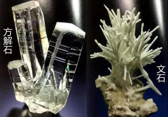 翻拍於《礦物日曆》中的礦物:方解石與文石