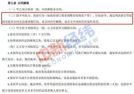"""张玲(化名)与蛋壳公寓签署的租房合同中,关于""""政府行为(如政府部门要求调整房屋现有户型)""""的约定。受访者供图"""