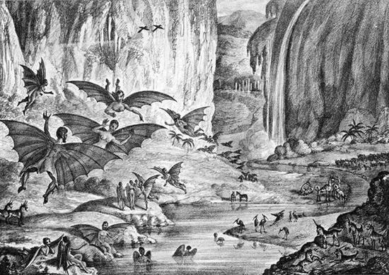 《纽约太阳报》1835年的一篇文章称月球上居住着一群长着翅膀的类人生物。