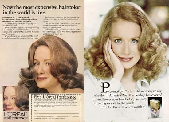 欧莱雅公司染发剂产品广告,模特Joanne Dusseau