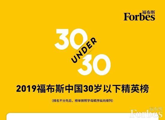 福布斯中国发布2019年度30岁以下