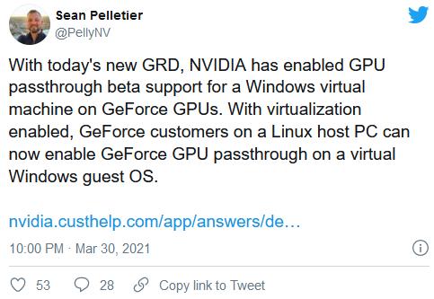 NVIDIA正式启用GeForce显卡的GPU虚拟机直通功能