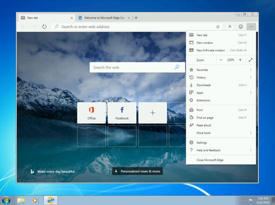 微软放出适用于Windows 7/8 的新版Edge下载地址