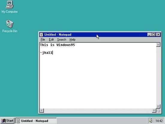 Windows 95 上的记事本编辑器