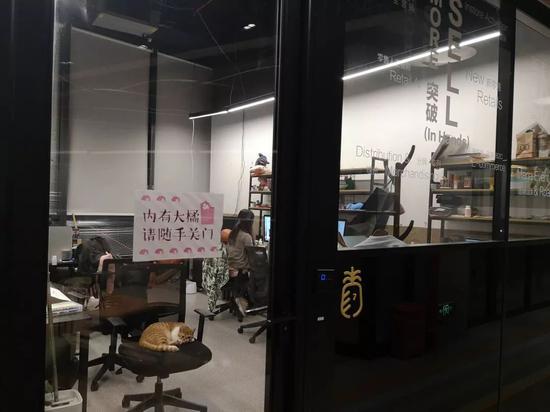 年前,WeWork的一处共享办公空间里面,员工正在工作