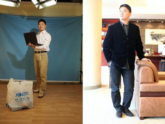 (左)2008年,刘强东入选了《中国企业家》未来之星企业家榜单。摄影:扶庆   (右)2010年,京东办公室还在中关村时,刘强东接受《中国企业家》专访。摄影:邓攀